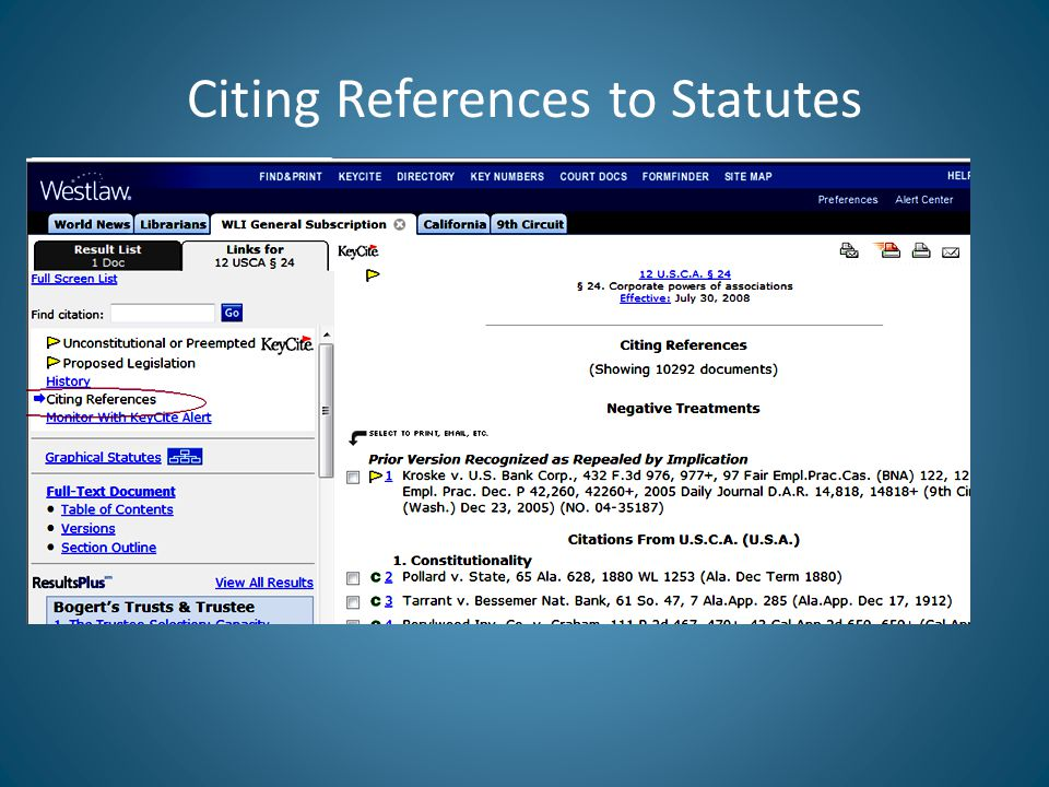 Citing References to Statutes