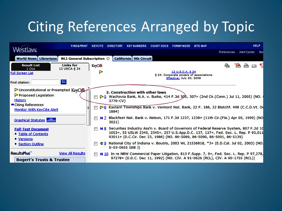 Citing References Arranged by Topic