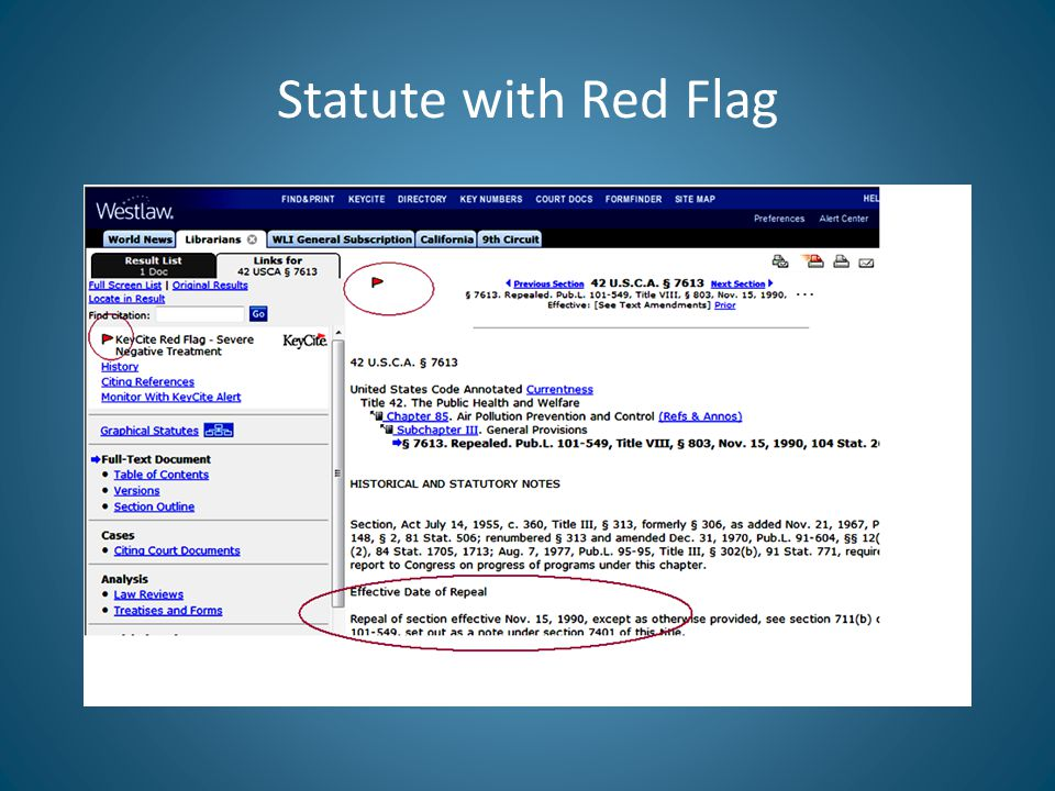 Statute with Red Flag