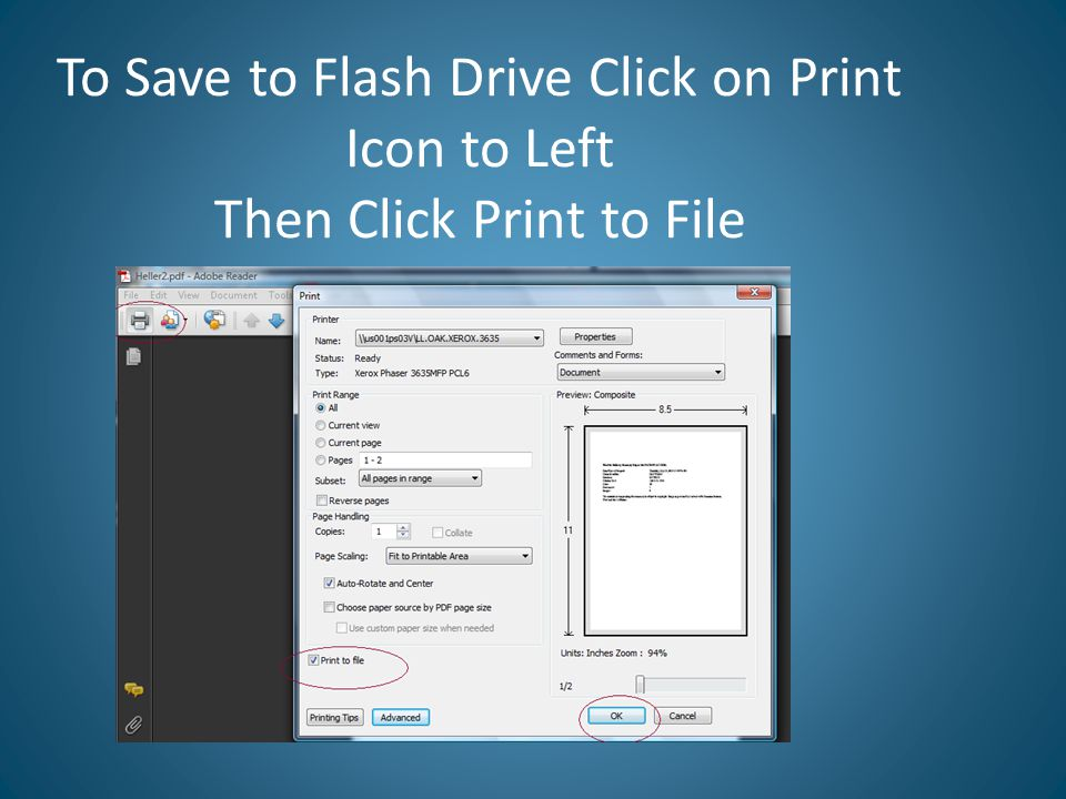 To Save to Flash Drive Click on Print Icon to Left Then Click Print to File