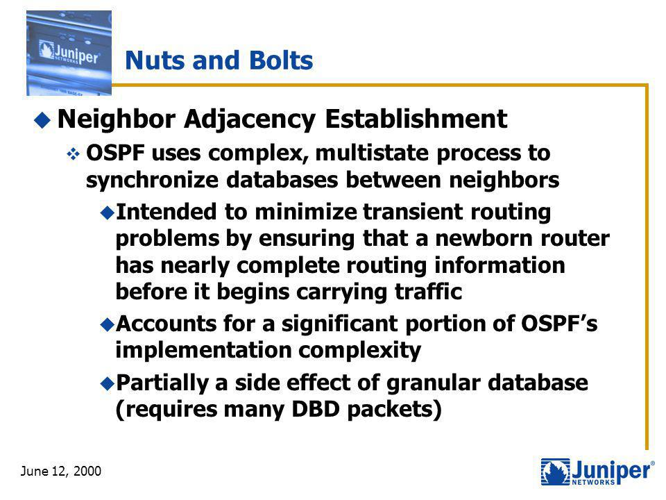 June 12, 2000 Nuts and Bolts  Neighbor Adjacency Establishment  OSPF uses complex, multistate process to synchronize databases between neighbors  I