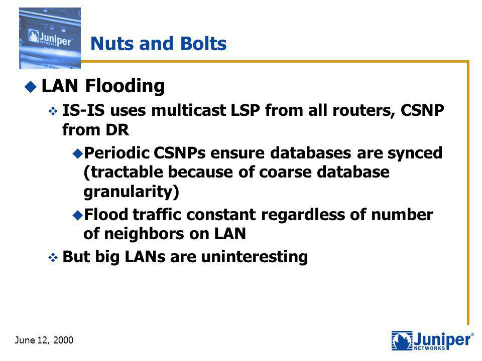 June 12, 2000 Nuts and Bolts  LAN Flooding  IS-IS uses multicast LSP from all routers, CSNP from DR  Periodic CSNPs ensure databases are synced (tr