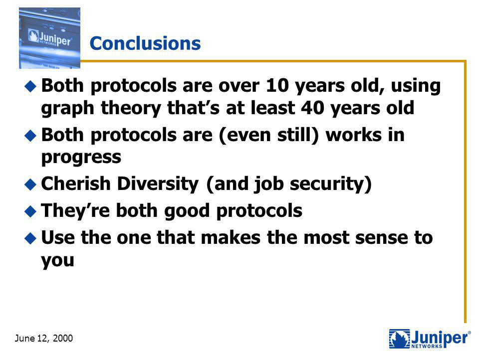 June 12, 2000 Conclusions  Both protocols are over 10 years old, using graph theory that's at least 40 years old  Both protocols are (even still) wo