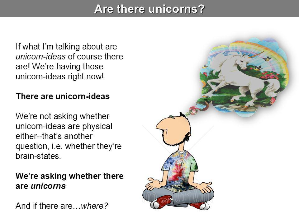 Are there unicorns.If what I'm talking about are unicorn-ideas of course there are.