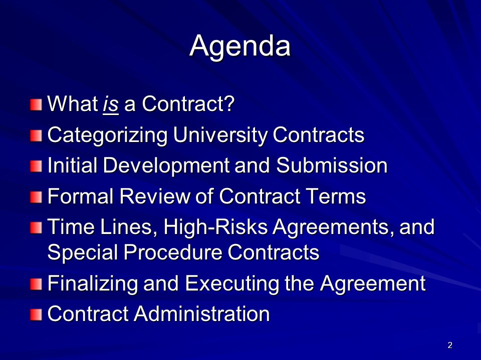 2 Agenda What is a Contract.