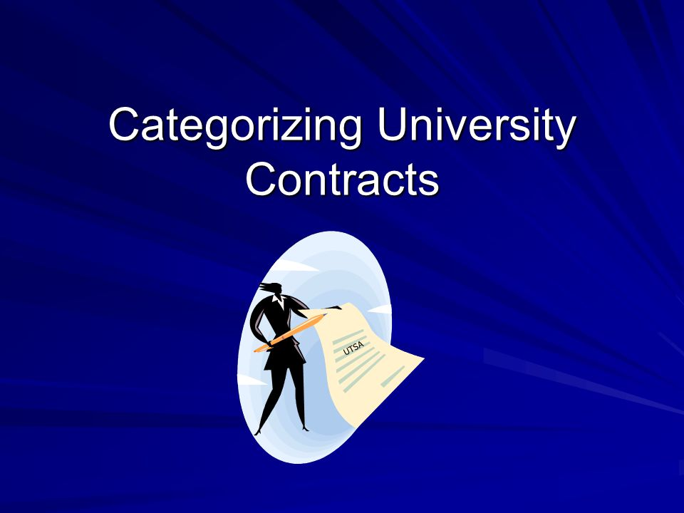 Categorizing University Contracts UTSA