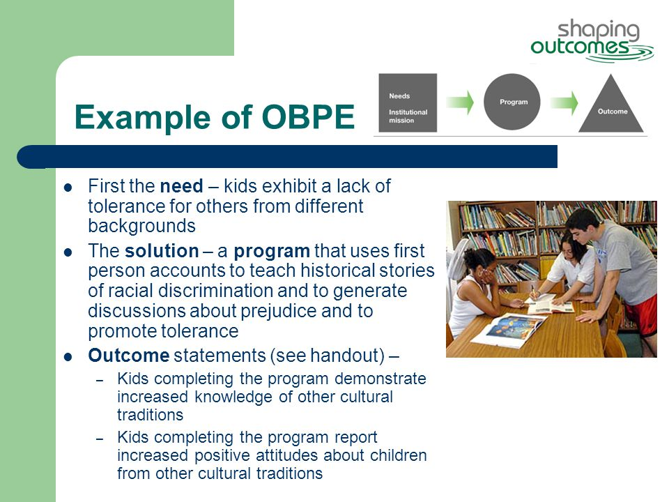 Example of OBPE First the need – kids exhibit a lack of tolerance for others from different backgrounds The solution – a program that uses first person accounts to teach historical stories of racial discrimination and to generate discussions about prejudice and to promote tolerance Outcome statements (see handout) – – Kids completing the program demonstrate increased knowledge of other cultural traditions – Kids completing the program report increased positive attitudes about children from other cultural traditions