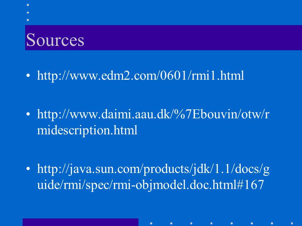Sources http://www.edm2.com/0601/rmi1.html http://www.daimi.aau.dk/%7Ebouvin/otw/r midescription.html http://java.sun.com/products/jdk/1.1/docs/g uide/rmi/spec/rmi-objmodel.doc.html#167