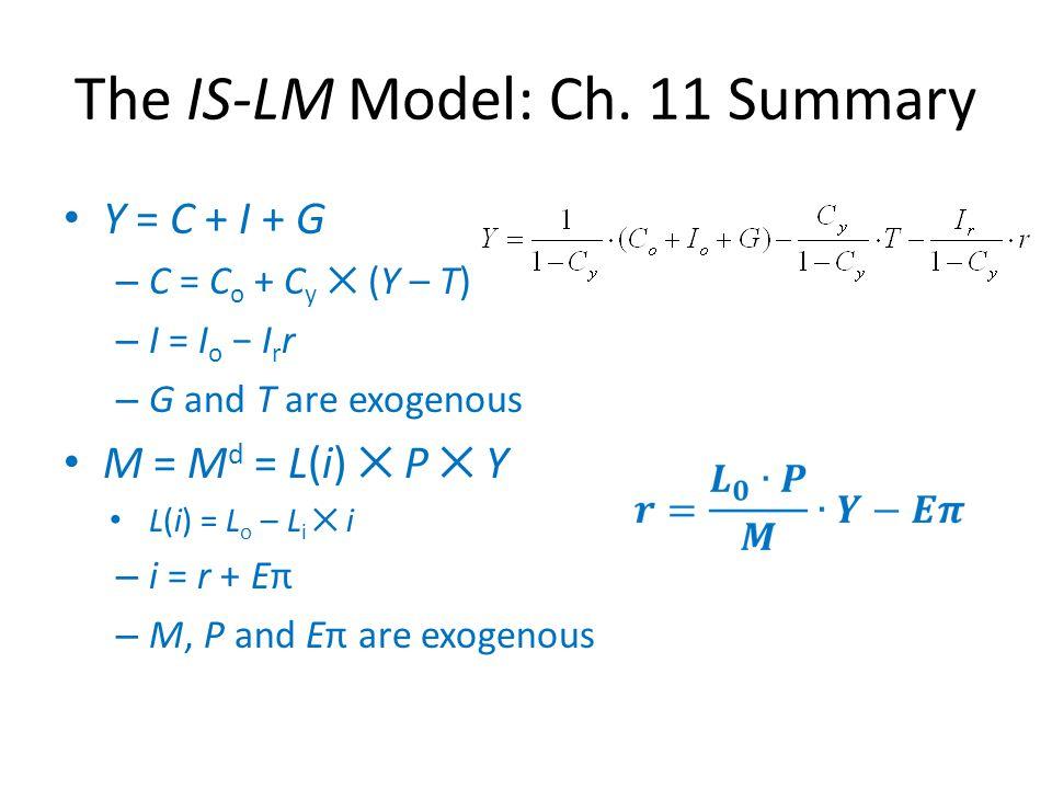 The IS-LM Model: Ch. 11 Summary Y = C + I + G – C = C o + C y ✕ (Y – T) – I = I o − I r r – G and T are exogenous M = M d = L(i) ✕ P ✕ Y L(i) = L o –