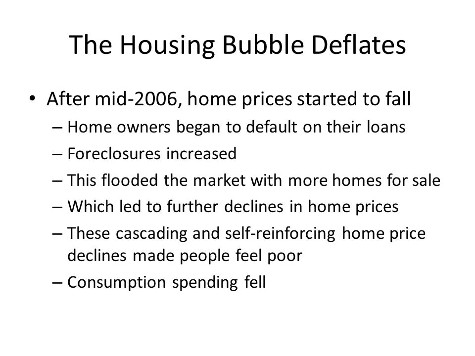 The Housing Bubble Deflates After mid-2006, home prices started to fall – Home owners began to default on their loans – Foreclosures increased – This