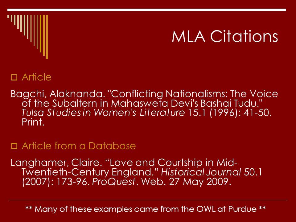 MLA Citations  Article Bagchi, Alaknanda.