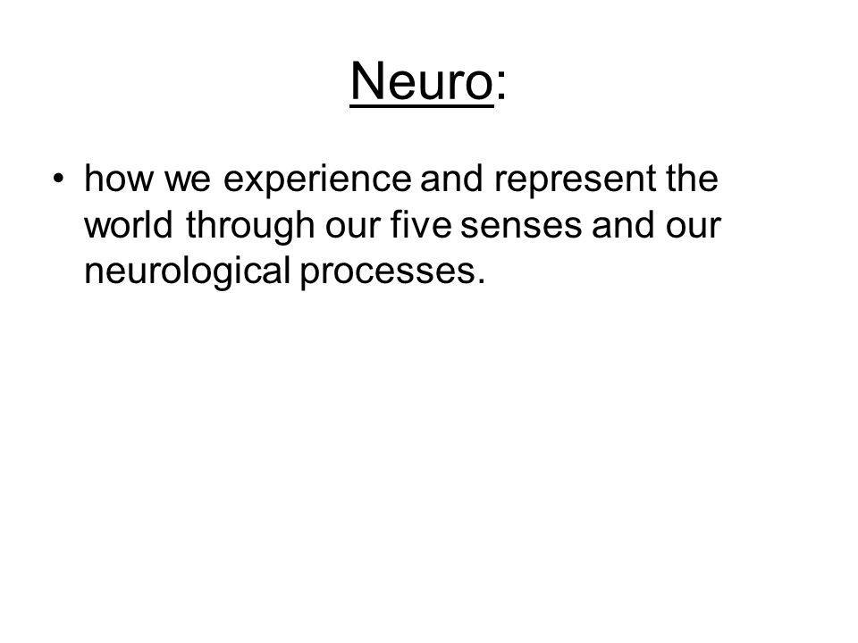 Neuro: how we experience and represent the world through our five senses and our neurological processes.