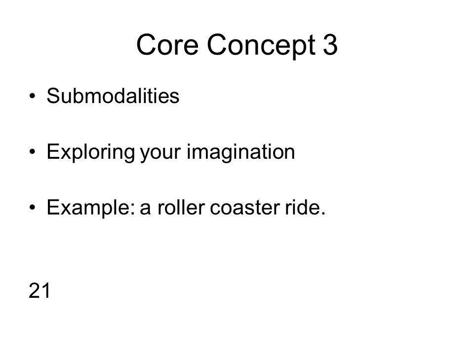 Core Concept 3 Submodalities Exploring your imagination Example: a roller coaster ride. 21