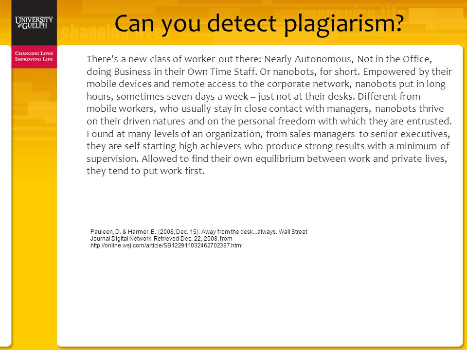 Can you detect plagiarism.