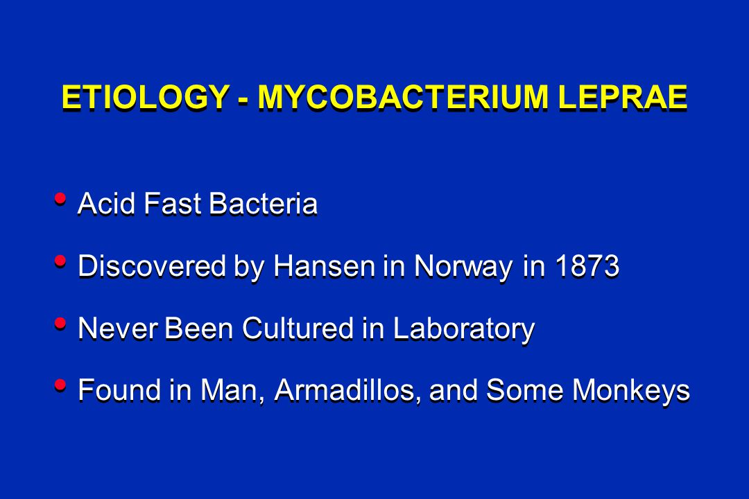 ETIOLOGY - MYCOBACTERIUM LEPRAE Acid Fast Bacteria Discovered by Hansen in Norway in 1873 Never Been Cultured in Laboratory Found in Man, Armadillos, and Some Monkeys Acid Fast Bacteria Discovered by Hansen in Norway in 1873 Never Been Cultured in Laboratory Found in Man, Armadillos, and Some Monkeys