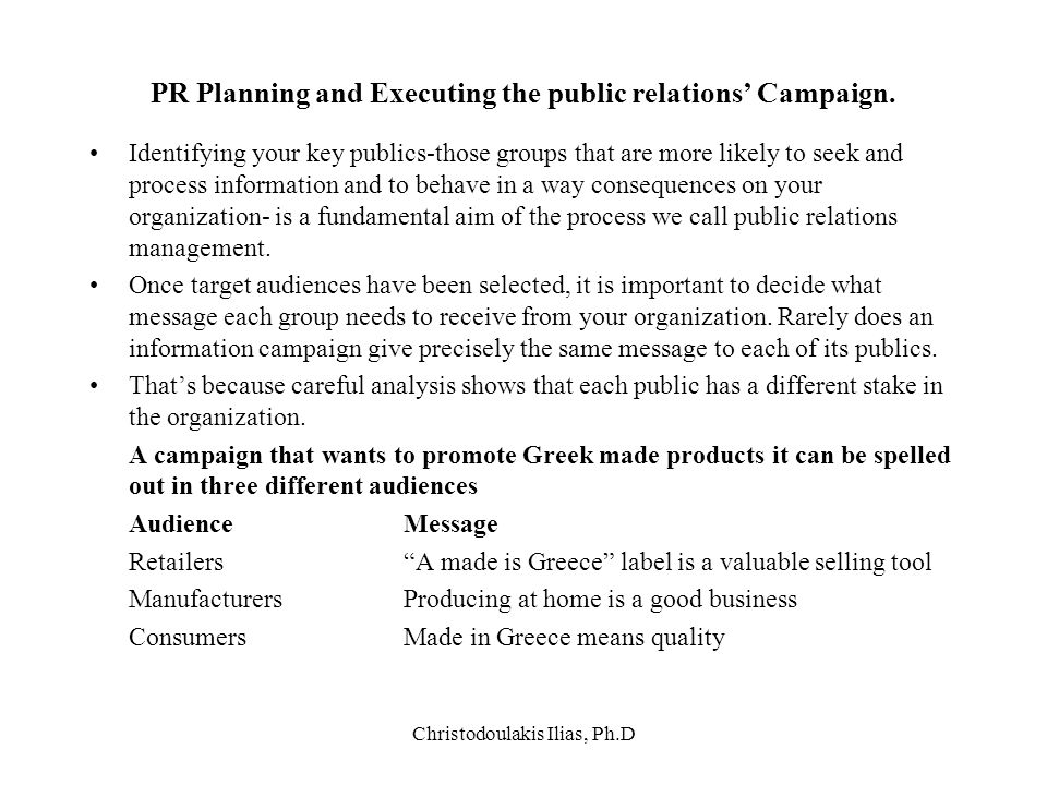 Christodoulakis Ilias, Ph.D PR Planning and Executing the public relations' Campaign. Identifying your key publics-those groups that are more likely t