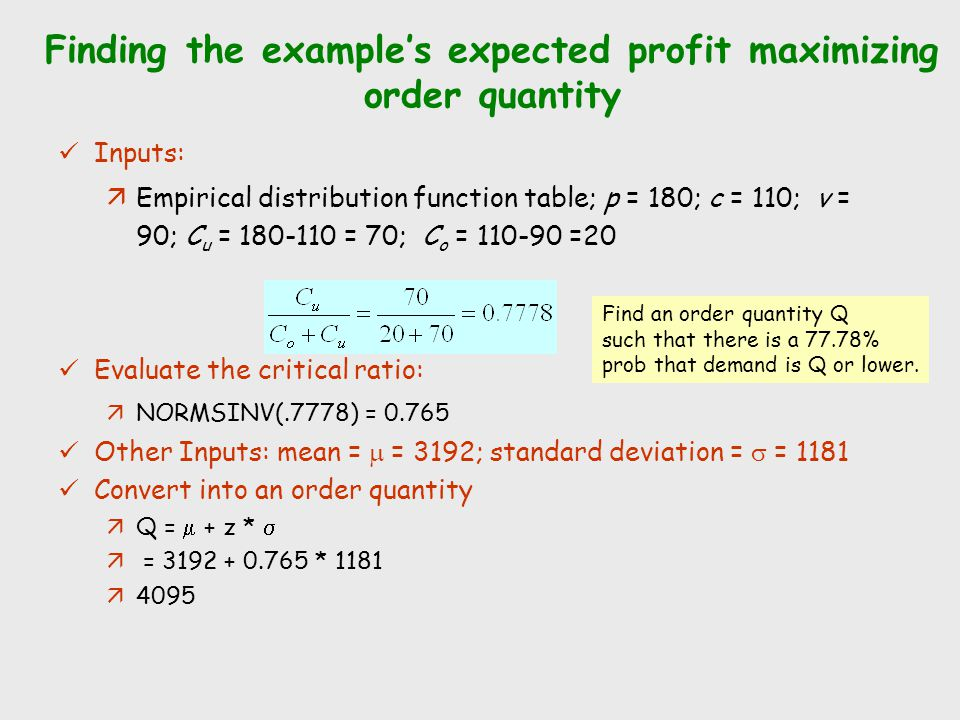 Finding the example's expected profit maximizing order quantity Inputs: äEmpirical distribution function table; p = 180; c = 110; v = 90; C u = 180-11