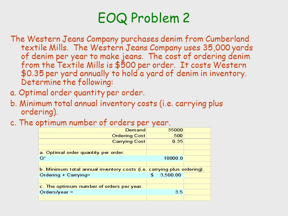 EOQ Problem 2 The Western Jeans Company purchases denim from Cumberland textile Mills. The Western Jeans Company uses 35,000 yards of denim per year t