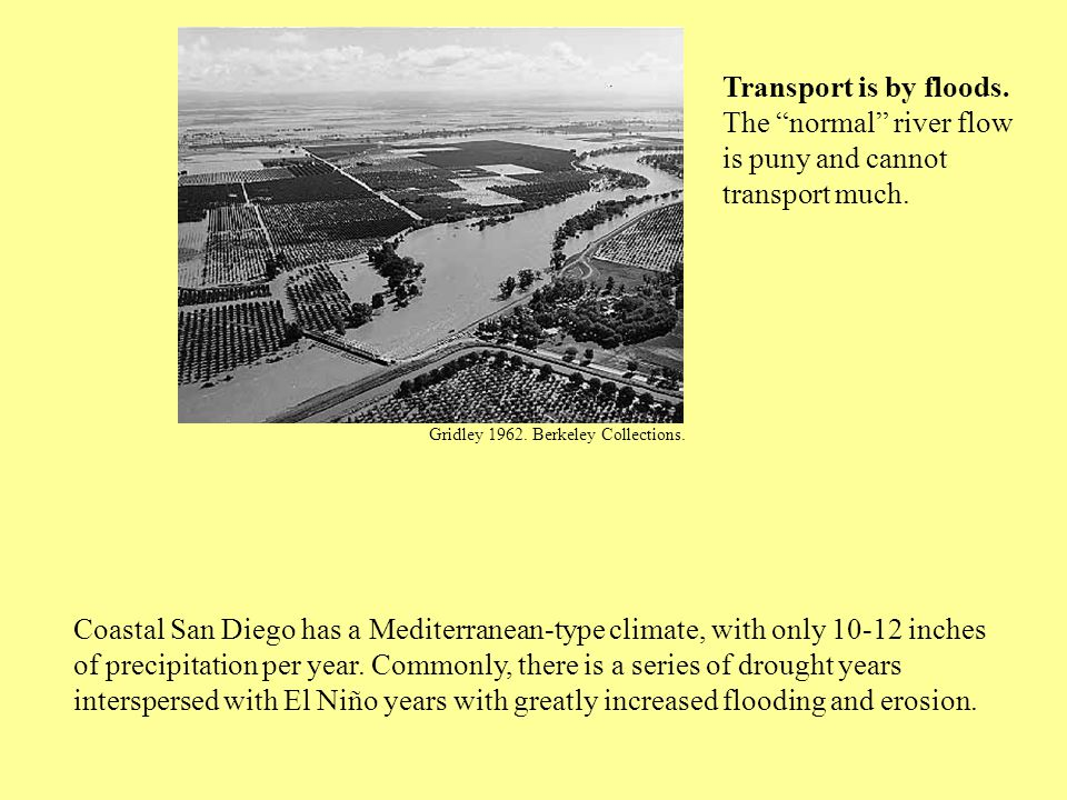 Coastal San Diego has a Mediterranean-type climate, with only 10-12 inches of precipitation per year.
