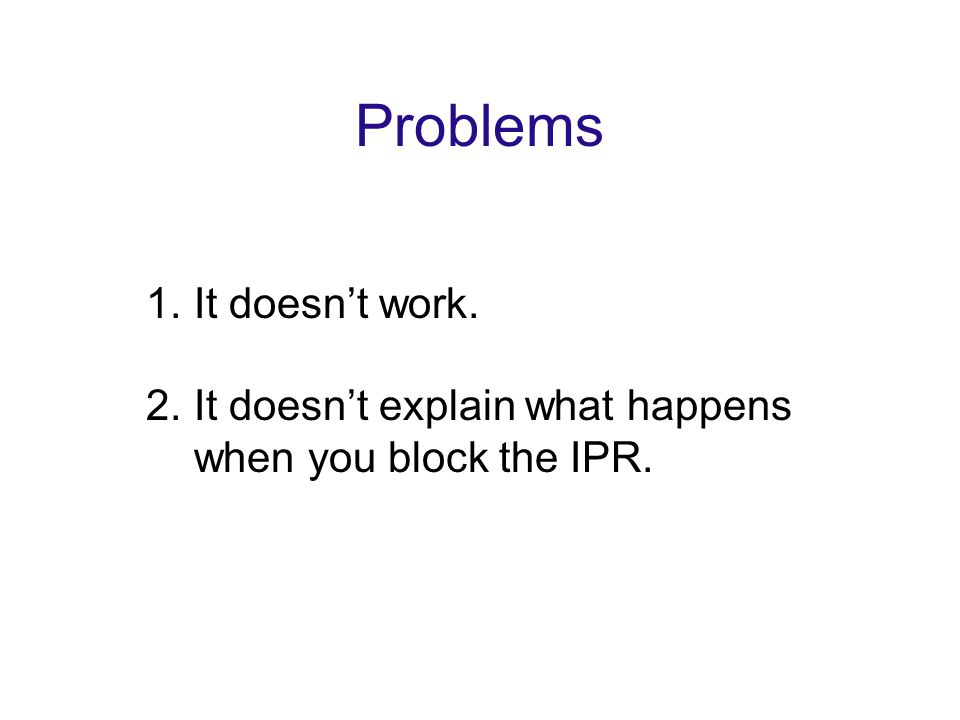 Problems 1.It doesn't work. 2.It doesn't explain what happens when you block the IPR.