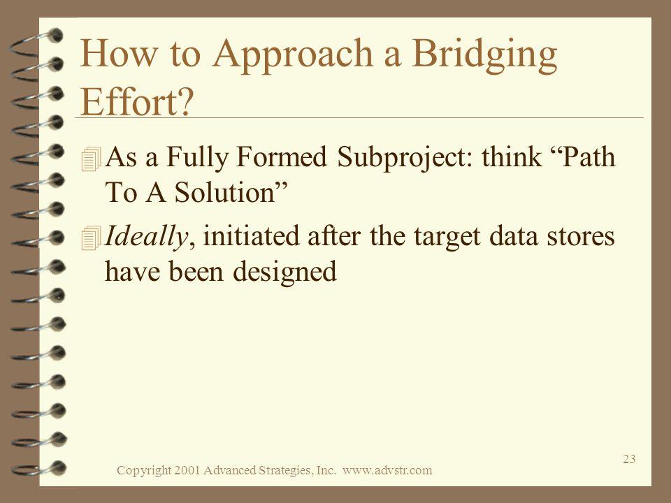 Copyright 2001 Advanced Strategies, Inc. www.advstr.com 23 How to Approach a Bridging Effort.