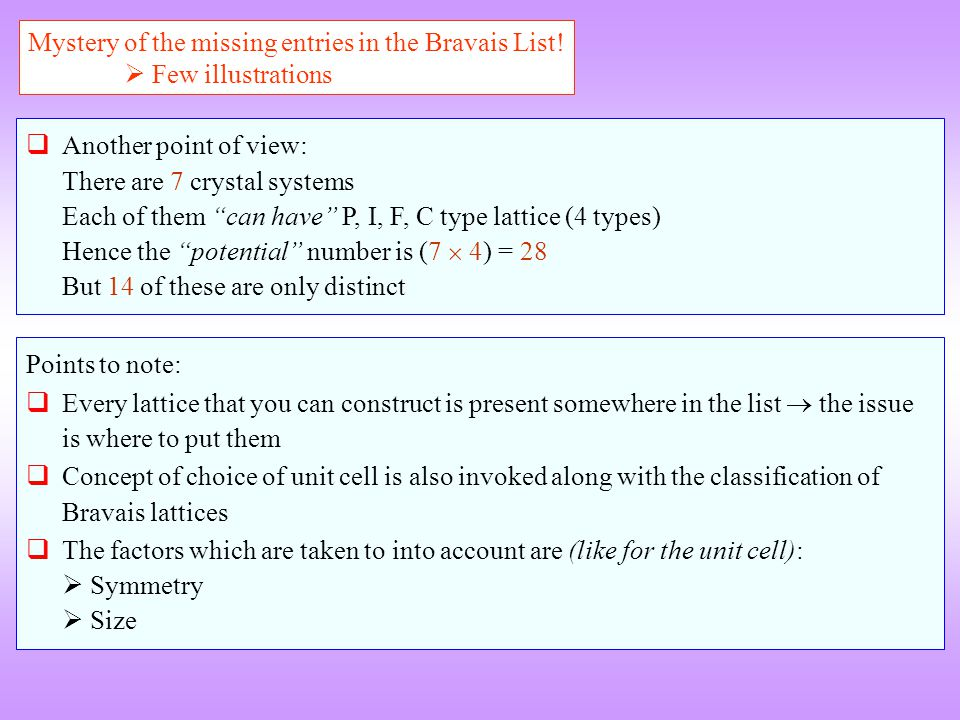 Mystery of the missing entries in the Bravais List.