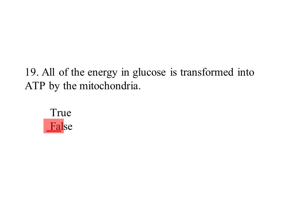 19. All of the energy in glucose is transformed into ATP by the mitochondria. True False ___