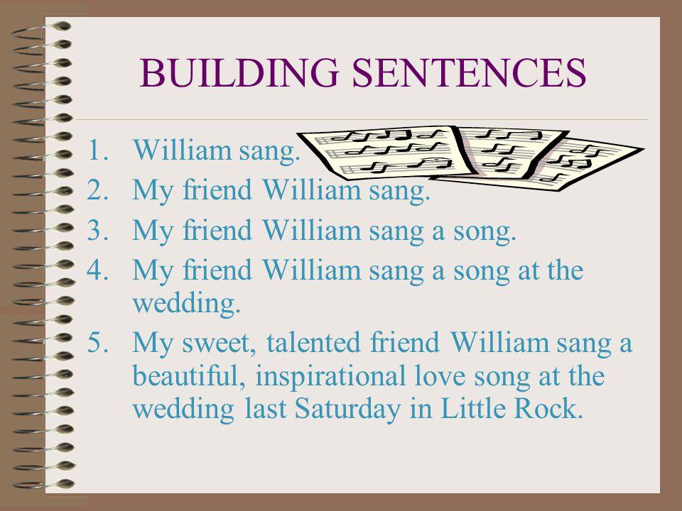BUILDING SENTENCES 1.William sang.2.My friend William sang.