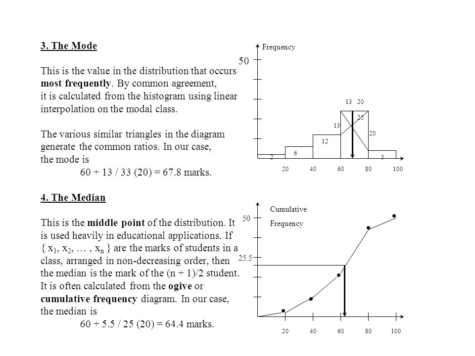 3.The Mode This is the value in the distribution that occurs most frequently.