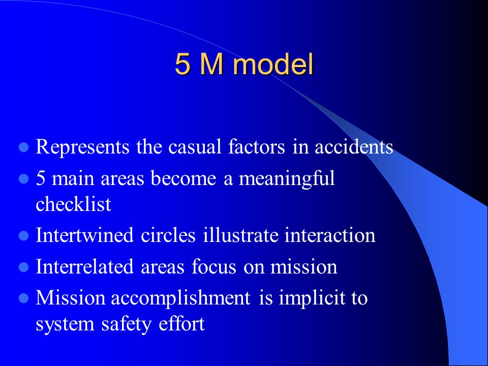 5 M model Represents the casual factors in accidents 5 main areas become a meaningful checklist Intertwined circles illustrate interaction Interrelated areas focus on mission Mission accomplishment is implicit to system safety effort
