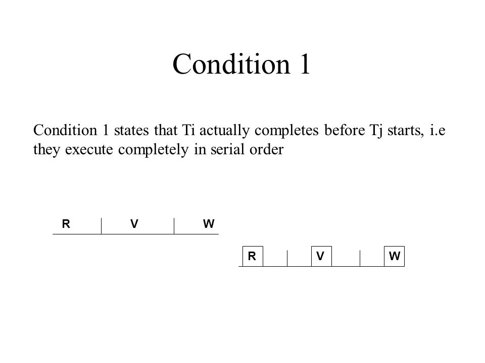 Condition 1 Condition 1 states that Ti actually completes before Tj starts, i.e they execute completely in serial order RVW RVW