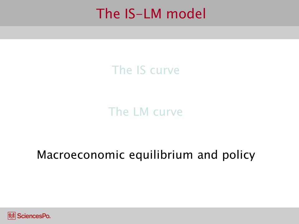 The IS-LM model The IS curve The LM curve Macroeconomic equilibrium and policy