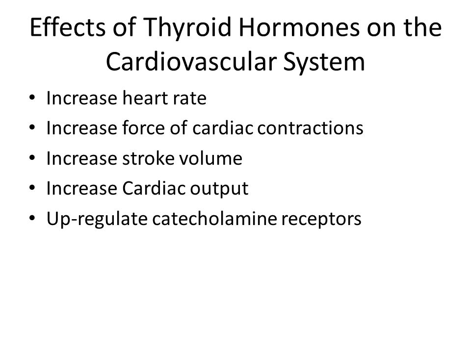 Effects of Thyroid Hormones on the Cardiovascular System Increase heart rate Increase force of cardiac contractions Increase stroke volume Increase Ca