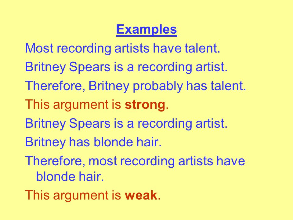 Examples Most recording artists have talent.Britney Spears is a recording artist.