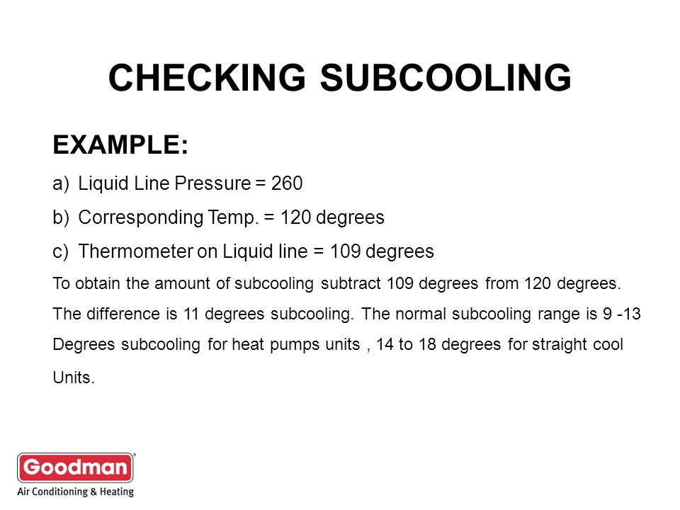 CHECKING SUBCOOLING EXAMPLE: a)Liquid Line Pressure = 260 b)Corresponding Temp.