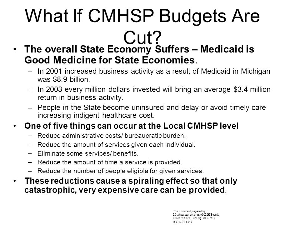 What If CMHSP Budgets Are Cut? The overall State Economy Suffers – Medicaid is Good Medicine for State Economies. –In 2001 increased business activity