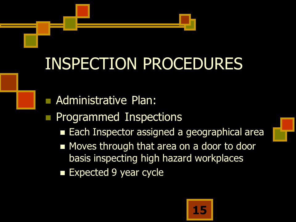 15 INSPECTION PROCEDURES Administrative Plan: Programmed Inspections Each Inspector assigned a geographical area Moves through that area on a door to door basis inspecting high hazard workplaces Expected 9 year cycle