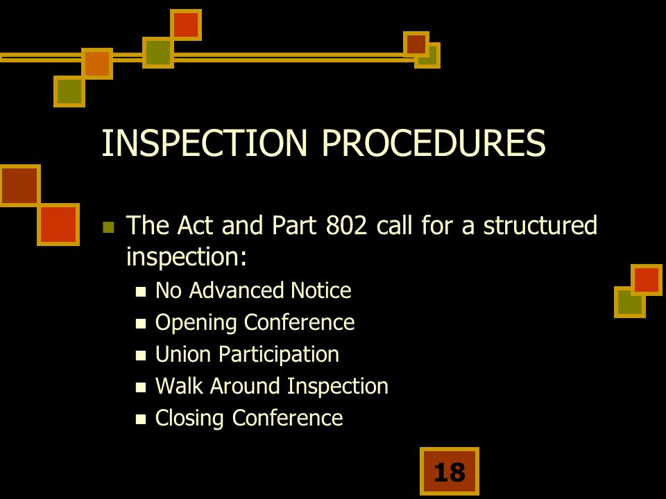 18 INSPECTION PROCEDURES The Act and Part 802 call for a structured inspection: No Advanced Notice Opening Conference Union Participation Walk Around Inspection Closing Conference