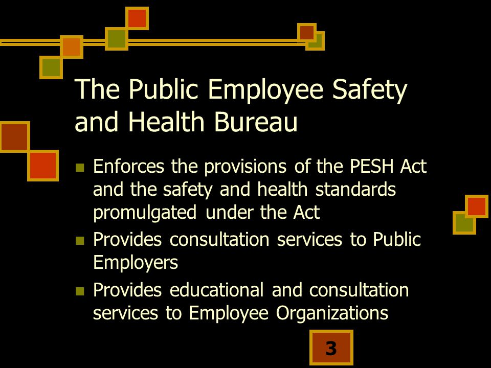 3 The Public Employee Safety and Health Bureau Enforces the provisions of the PESH Act and the safety and health standards promulgated under the Act Provides consultation services to Public Employers Provides educational and consultation services to Employee Organizations