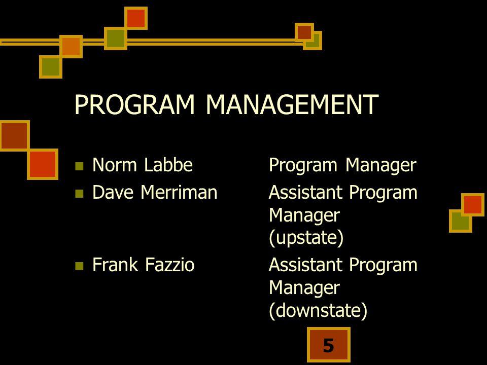 5 PROGRAM MANAGEMENT Norm Labbe Program Manager Dave MerrimanAssistant Program Manager (upstate) Frank FazzioAssistant Program Manager (downstate)