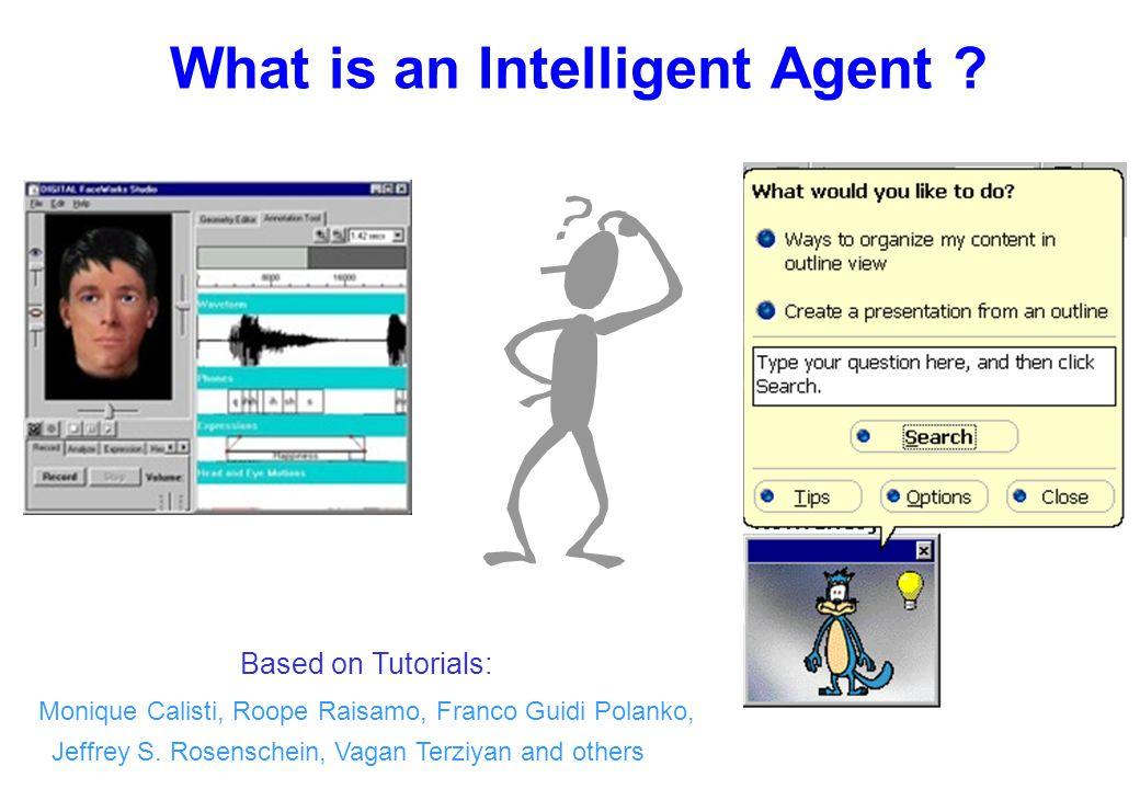 What is an Intelligent Agent ? Based on Tutorials: Monique Calisti, Roope Raisamo, Franco Guidi Polanko, Jeffrey S. Rosenschein, Vagan Terziyan and ot