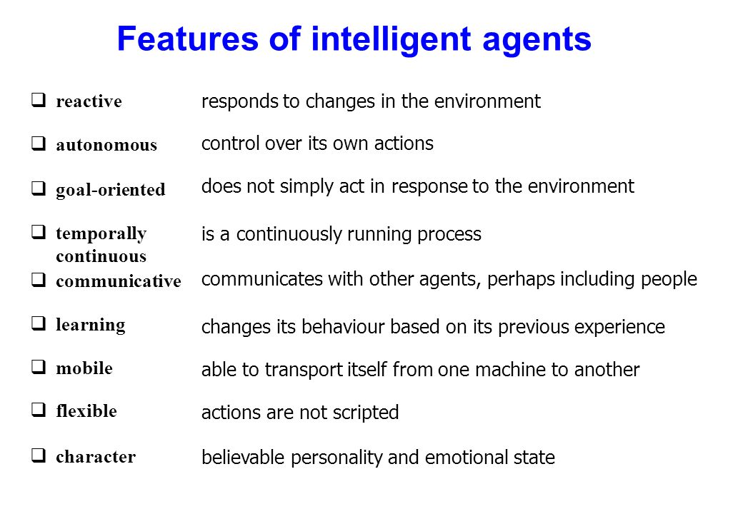 Features of intelligent agents qreactive qautonomous qgoal-oriented qtemporally continuous qcommunicative qlearning qmobile qflexible qcharacter respo