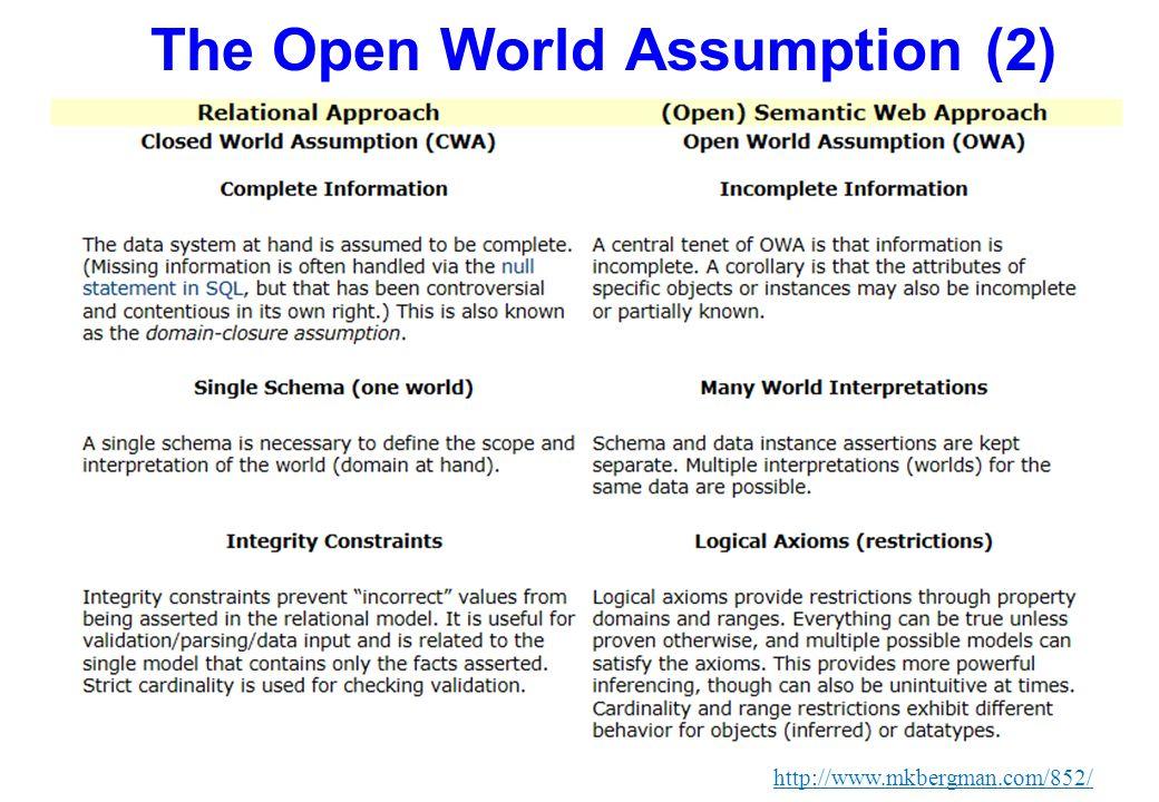 The Open World Assumption (2) http://www.mkbergman.com/852/