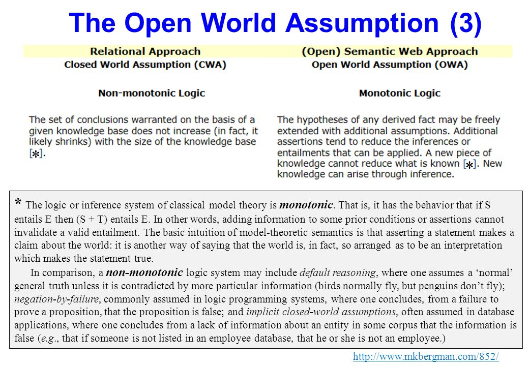 The Open World Assumption (3) http://www.mkbergman.com/852/ * The logic or inference system of classical model theory is monotonic. That is, it has th