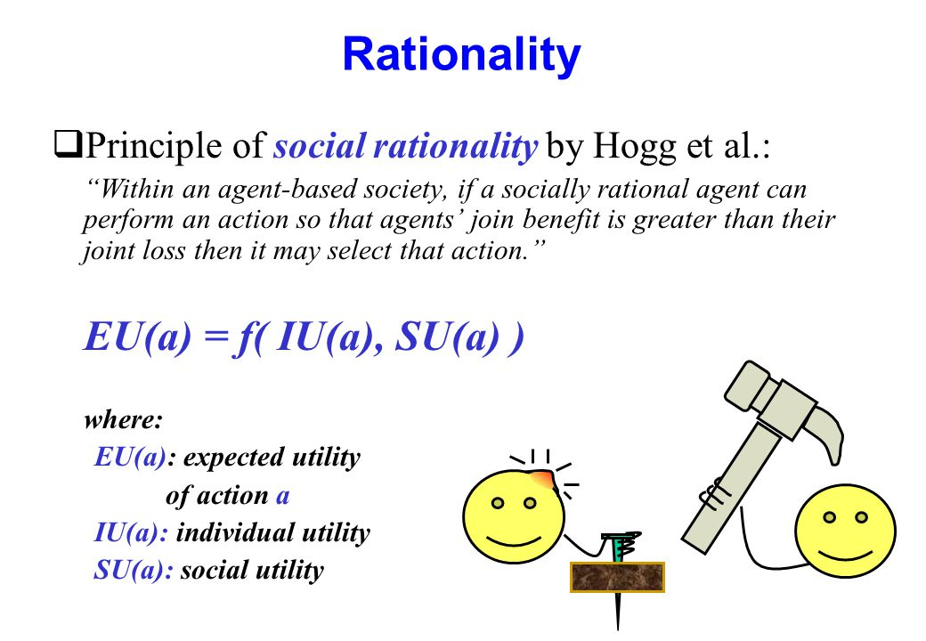 """Rationality qPrinciple of social rationality by Hogg et al.: """"Within an agent-based society, if a socially rational agent can perform an action so tha"""