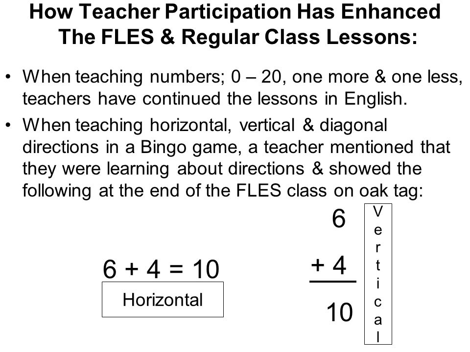 How Teacher Participation Has Enhanced The FLES & Regular Class Lessons: When teaching numbers; 0 – 20, one more & one less, teachers have continued t
