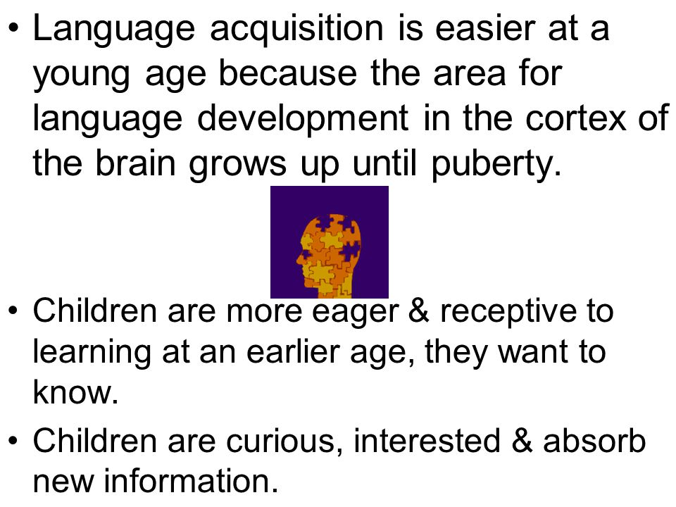 Language acquisition is easier at a young age because the area for language development in the cortex of the brain grows up until puberty. Children ar