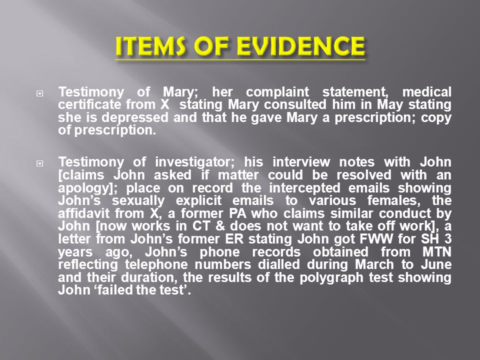 John charged with SH of Mary.