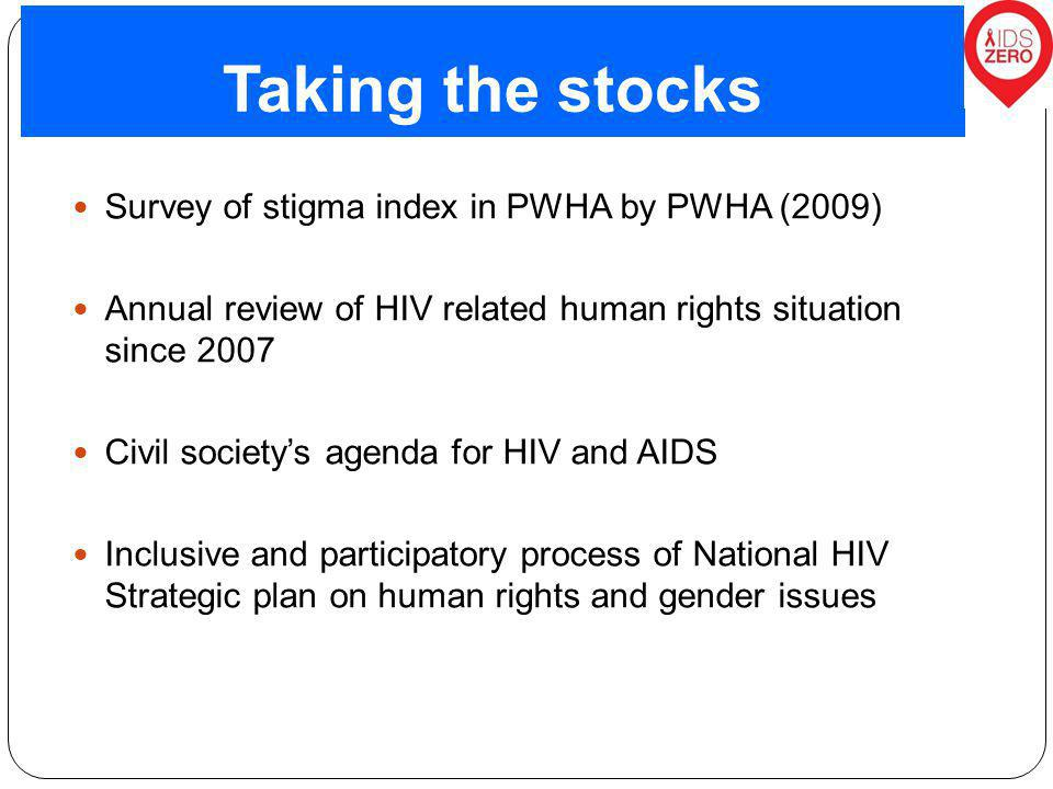 Taking the stocks Survey of stigma index in PWHA by PWHA (2009) Annual review of HIV related human rights situation since 2007 Civil society's agenda for HIV and AIDS Inclusive and participatory process of National HIV Strategic plan on human rights and gender issues