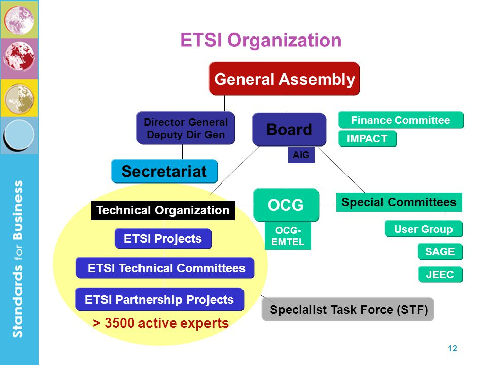 12 JEEC User Group SAGE Special Committees General Assembly Board IMPACT Finance Committee Secretariat Technical Organization ETSI Technical Committee